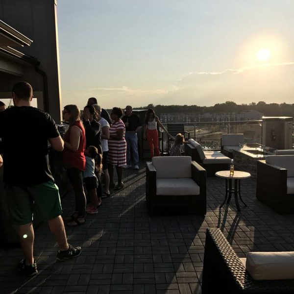 Rooftop sunrise at Avia Apartments