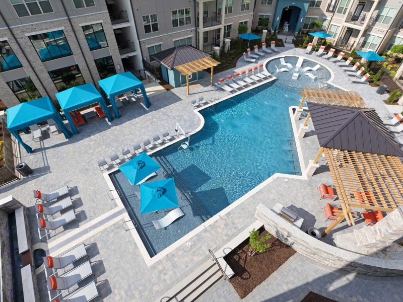 Luxury apartments pool area