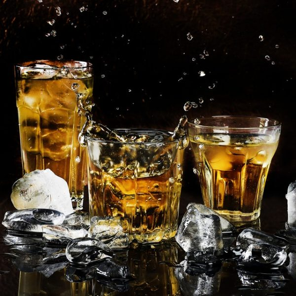 Bourbon Glasses on Ice