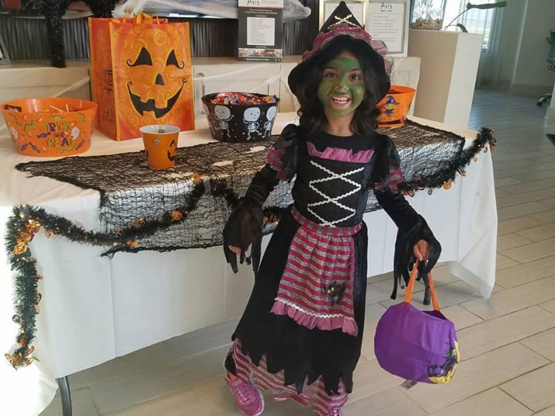 Girl dressed on witch for Halloween