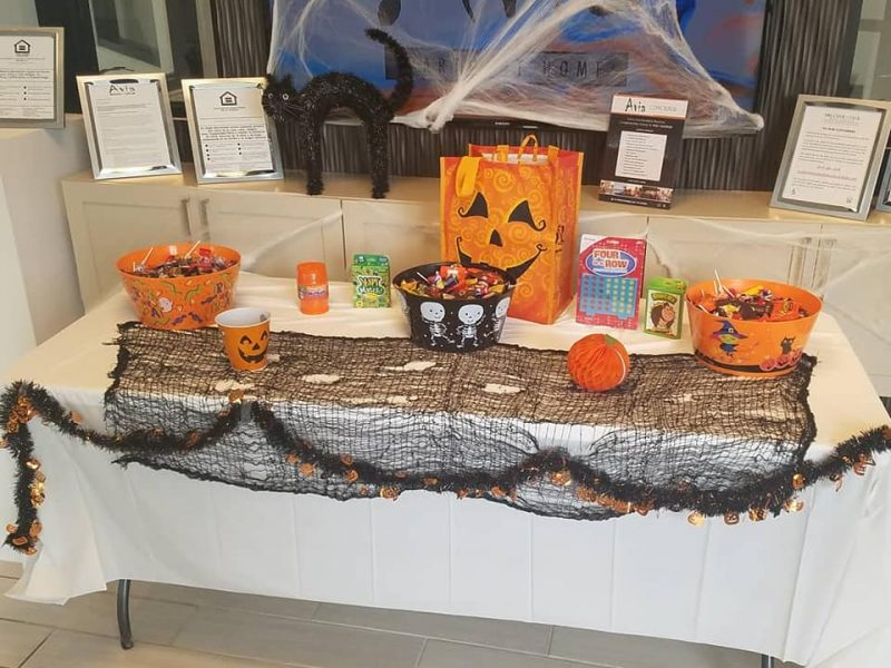 Halloween candy on table