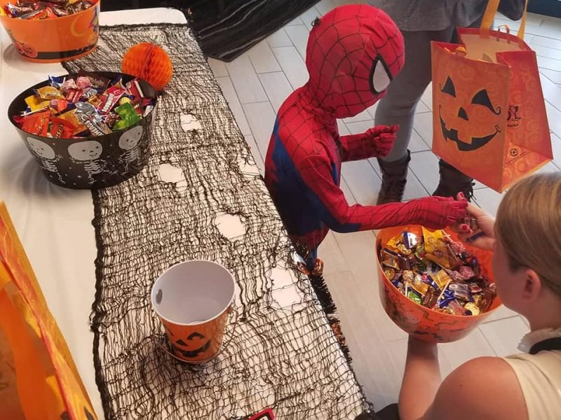 Spiderman trick-or-treating
