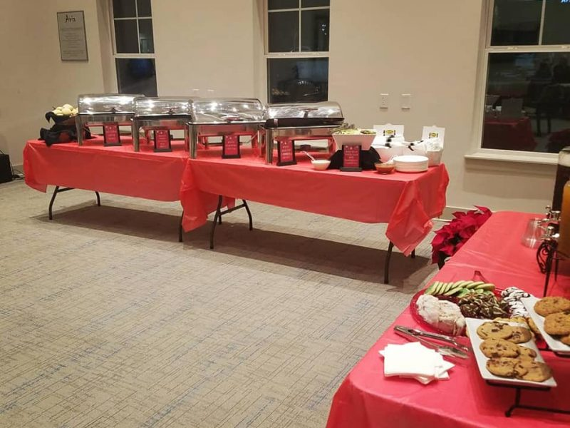 Entire buffet setup for holiday party