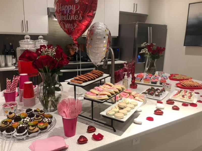 Dessert table for Valentine's Day party