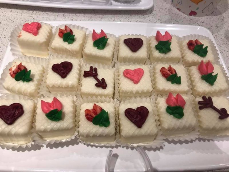 Cake slices with heart-shaped icing