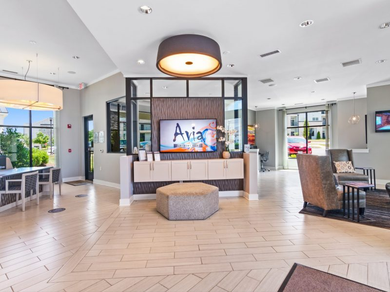 building entrance and lounge